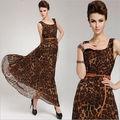 sıcak satış gevşek yuvarlak yakalı şifon leopar elbise