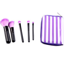 travel make up brush purple pouch black/pink bag with mirror