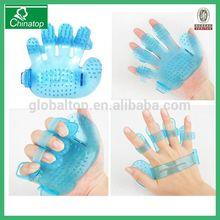 Dog Puppy Pet Plastic Bath Glove Brush Comb Massage Palm Hand Blue