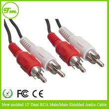 New molded 12' Dual RCA Male/Male Shielded Audio Cable