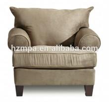 Popular Upholstered Velvet one Seater Hotel Sofa Design with Birch Legs