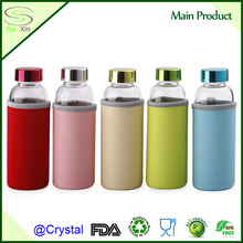 BPA free glass drinking travel water bottle with colorful bottle cooler