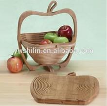 2014 Hot Sales Apple Shape Bamboo folding fruit basket with handle