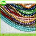 venta al por mayor colorido artesanía perfecta con borde liso rollo de cuentas de perlas