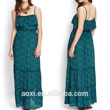 OEM Custom-made China supplier pregnant women maxi dress ruffle bandage chiffon long dress evening party wear fat women dress