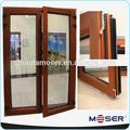 de madera maciza de vidrio doble con bisagras puerta francés