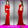 EDE230 Elegant Crystal Boat Neck Backless Long Sleeve Red Evening Dress