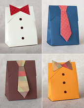hand made colored craft fancy paper gift bag with tie and button