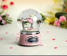 Polyresin+glass 120mm rotation ballerina snow globe ,music box for christmas