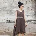 Son orijinal marka 100 keten bayan basit uzun yüksek/düşük elbise
