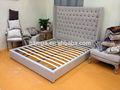 Novo design de estilo francês em madeira casal king size cama com cabeceira botão mpac- 037