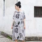 2014 Latest design boutique floral dress linen tie dye umbrella dress western ladies like