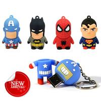 promotion keychain cheap custom soft pvc mini superheroe usb flash drive