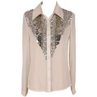 fancy new design fashion beaded chiffon tunic tops blouse shirts 1317