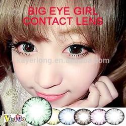 lower price large diameter 2 tone contact lenses korea fashion big eye girl green
