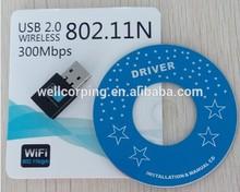 300Mbps Mini WIFI Wireless USB Adapter/ 802.11 b/g/n wireless lan card/ laptop desktop USB Wifi dongle support win7.linux,Mac