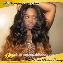 Long Wavy Virgin Brazilian Hair 1b/#30 Ombre Lace Front Wig Human Hair Topper Wig