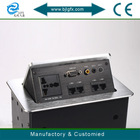 Mutimedia hidden sliver tabletop plug and universal socket with rj45