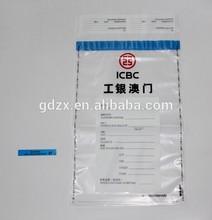 security custom printing bank cash/coin secret PE bag