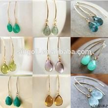 Gold Mint Green Chrysoprase Gemstone Earrings Water Drop Earrings