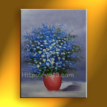 blue knife flower painting canvas for bedroom handmade modern art wall picture