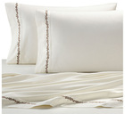 embroidered bed sheet sets in white