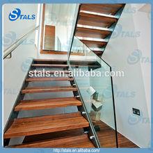 Indoor straight stair steel stair glass railing balustrade wood tread