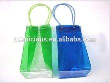 Square bottom wheel gear handle pvc wine bag ice cooler bag