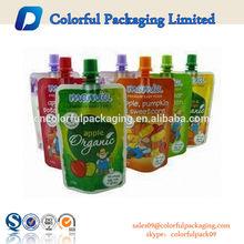Wholesale Custom BPA Free Reusable Plastic Fruit Juice/Baby Food Spout Pouch