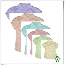 2015 Spring colors short sleeves cute design UPF woman dress shirt