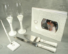 7 Piece Hearts & Rhinestones Wedding Set Guest Book Glasses Cake Server set