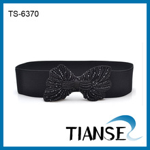 Ladies trendy rhinestone bow belt wide elastic belt for dress