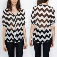 Guangzhou clothing three quarter length sleeve beautiful blouses for women