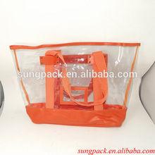 Fashion clear handle pvc lady bag with zipper
