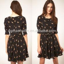 Woman clothes 2014 dongguan clothing factory design cat print dress