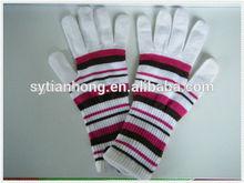 2014 Metallic yarn /acrylic knitted long magic gloves