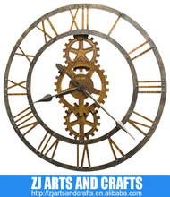 Antique Brass Finish Metal Gears Large Wall Clock