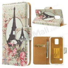 For Samsung Galaxy S5 mini SM-G800 Wallet Leather Case w/ Stand - Eiffel Tower & Cat