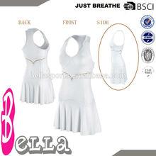llanura de color blanco sin mangas acolchados logotipo personalizado ropa de mujer vestido de tenis