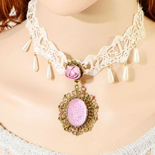 Pink resin diamond chamrs handmade vintage fancy jewelry wholesale women lace flower necklace white lace collar PN1642
