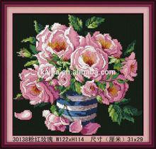 3D BEAUTIFUL FLOWER DIAMOND PAINTING, PINK ROSE PAINTING, CANVAS DIAMONDPAINTING