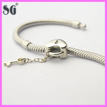 Heart shape keys and locks 925 sterling antique silver beads for Jewelry wholesale bulk buy from china