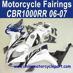 Popular Design For Honda CBR1000RR 06 07 White Black Fairing Motorcycle FFKHD020