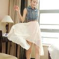 M60241A 2014 hot sale Korean style jean chiffon dress
