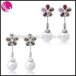 Hot sale handmade copper zircon Dangle earrings with pearl for girl