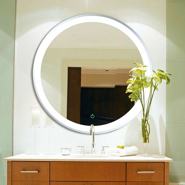 Led capteur lumineux miroir rond de salle de bains for Miroir magique production