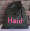 black nylon Heidi Personalised Drawstring Bag