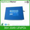 OEM 36v 20Ah LiFePO4 external battery with BMS