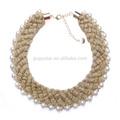 alla moda fatto a mano in oro intrecciato tessuto di lavoro a maglia chunky collana di perle