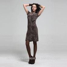 Ladies modern Leoprint Cashmere Dress